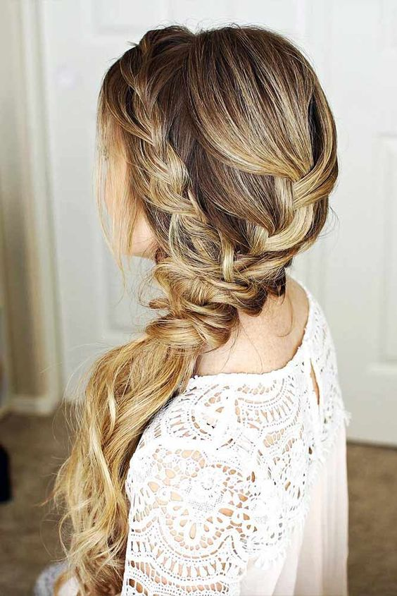 side pony wedding hairstyle