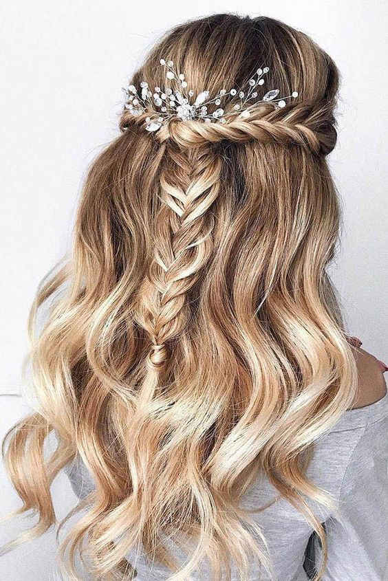 half up with braid hairstyles for wedding